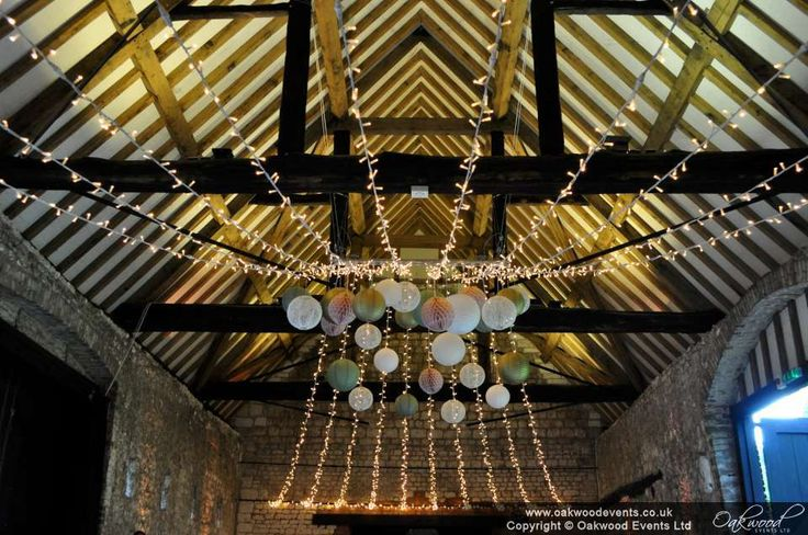 Love this scheme. Blush pink, sage and lace paper lanterns with fairy lights at MonksBarn Hurley for an early summer barn wedding