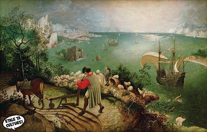 La Chute d'Icare, Pieter Bruegel, 1558 Réactualisation des mythes qui font une image. Fondateur, parle à tout le monde, organise la démarche. Liens castes sociales : même si l'on travaille seul, on travaille pour un ensemble et seul on y arrive pas. Mythe d'Icare : technologies nous brûle les ailes, perte contact réalité. Deux espaces, écrans et ce qu'il y a derrière. A quel moment la nature reprends ces droits ?