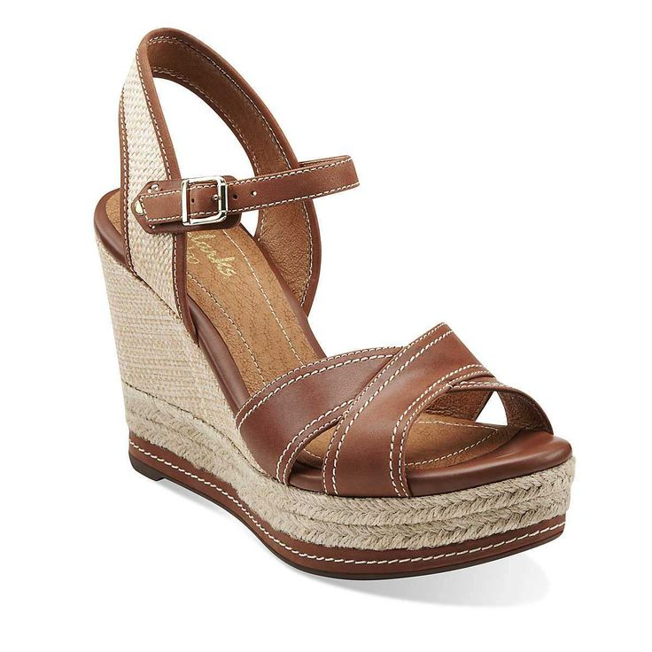 Amelia Air in Cognac Leather & Synthetic - Womens Sandals from Clarks --  Cute summer shoes