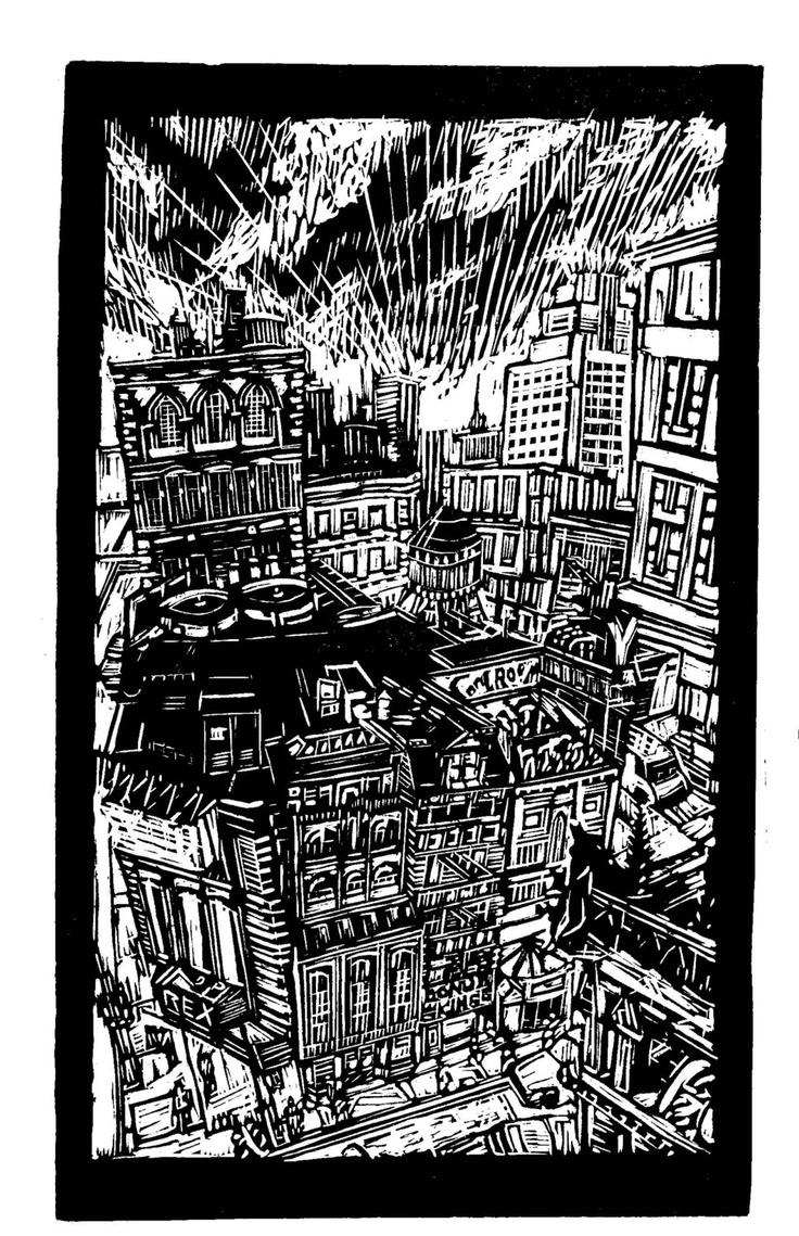 Metropolis - Handmade Lino Print.