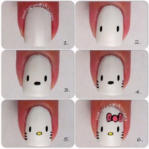Nails, Nail Art, Nail Design, Tutorial, How To, Manicure, Sanrio, Hello Kitty, Bow, Pink, White, Black, Yellow