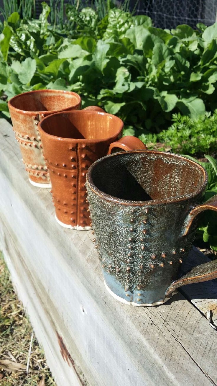 Hand made rustic spikey mugs