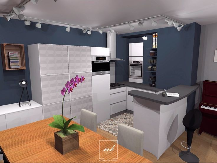 Dans cette #cuisine, Virginie conserve l'implantation initiale mais donne un nouveau souffle à l'espace avec un bleu profond, un revêtement de sol tendance et des placards en relief.