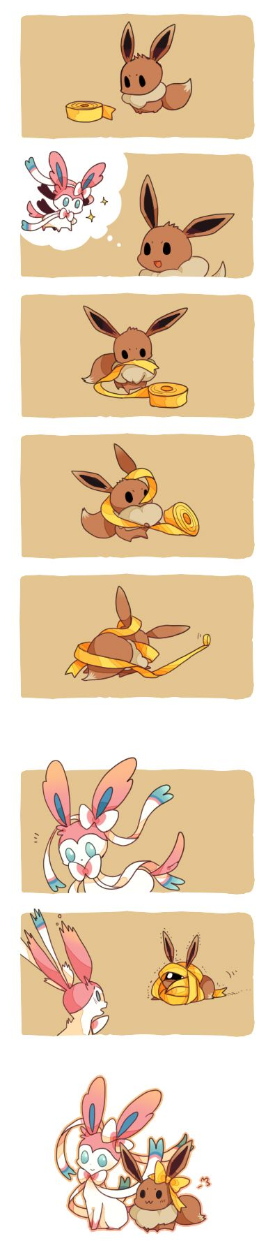 Pokemon X Y - Ninfia I thought the evolution method was going to be to let evolve with a pink ribbon or something but it Eevee evolves by friendship and learning a fairy type to evolve into Syleveon