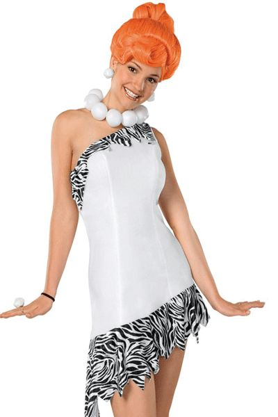 Wilma Flintstone kostuum voor dames. Flintstones kostuum bestaande uit een jurk, pruik en ketting. Dit kostuum valt ruimer. Carnavalskleding 2015 #carnaval