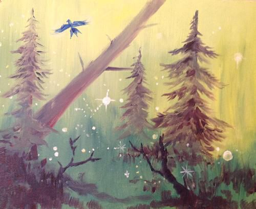"""""""Bluebird Forest"""" is easiest when you teach the bird step by step- a blue x where the bottom of the X is the tail, a blue dot in the center of the top of the x is the head, and extend the top arms of the X into a letter M to create the wings!"""