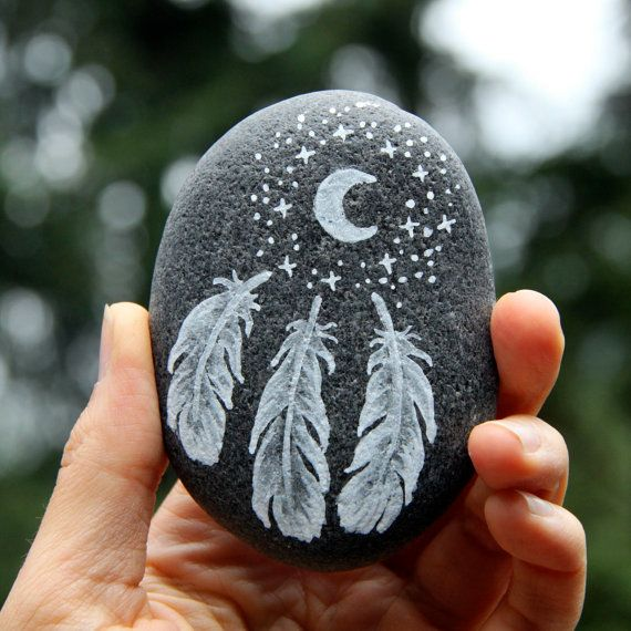 Feathered: A Painted River Stone