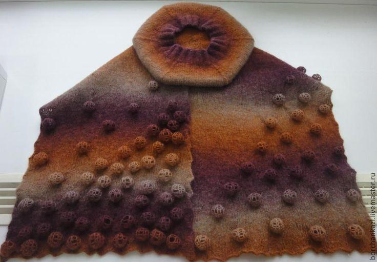 Купить Берет шарф Вишневая смола комплект валяный - в полоску, берет, берет валяный, шарф