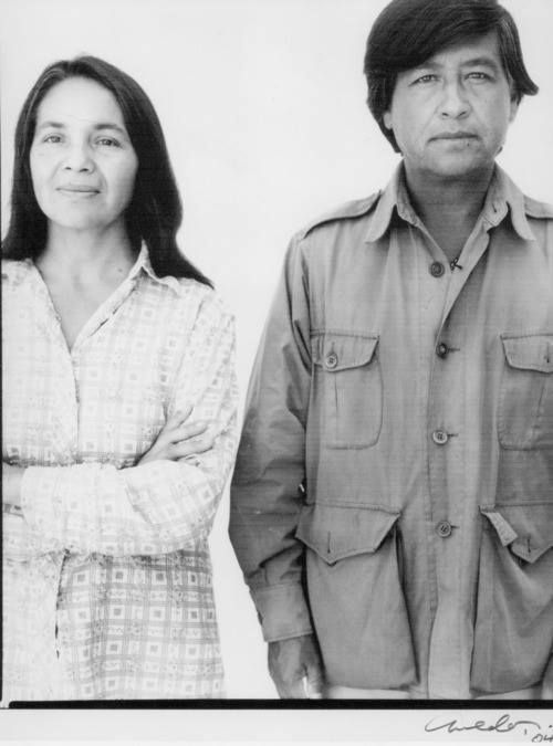 Dolores Huerta (1930 - ) stands beside Cesar Chavez (1927 - 1993), co-founders of United Farm Workers of America (UFW) Photo credit: Dolores Huerta Foundation