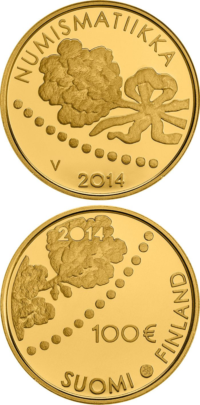 100 euro: 150 years of Finnish Mark and Numismatics .Country: Finland Mintage year:2014 Issue date:11.04.2014 Face value:100 euro Diameter:22.00 mm Weight:5.65 g Alloy:Gold Quality:Proof Mintage:6,000 pc proof Design:Hannu Veijalainen