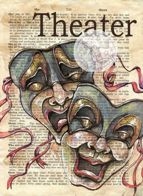 Theater Mixed Media Drawing on Antique Dictionary by Flying Shoes Art Studio