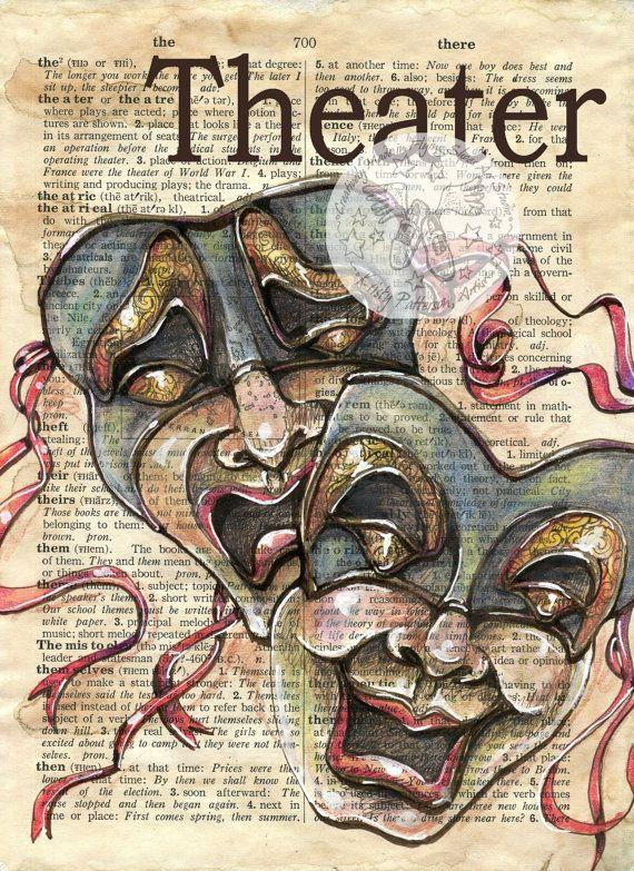 Druck: Theater-gemischte Medien Zeichnung auf antike Wörterbuch