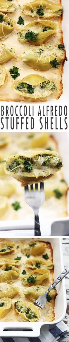 Creamy broccoli alfredo stuffed shells topped with melty parmesan cheese. An easy 30 minute family favorite meal for busy weeknights!
