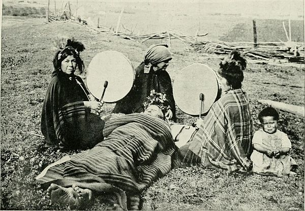 Mapuche medicine women treating a patient