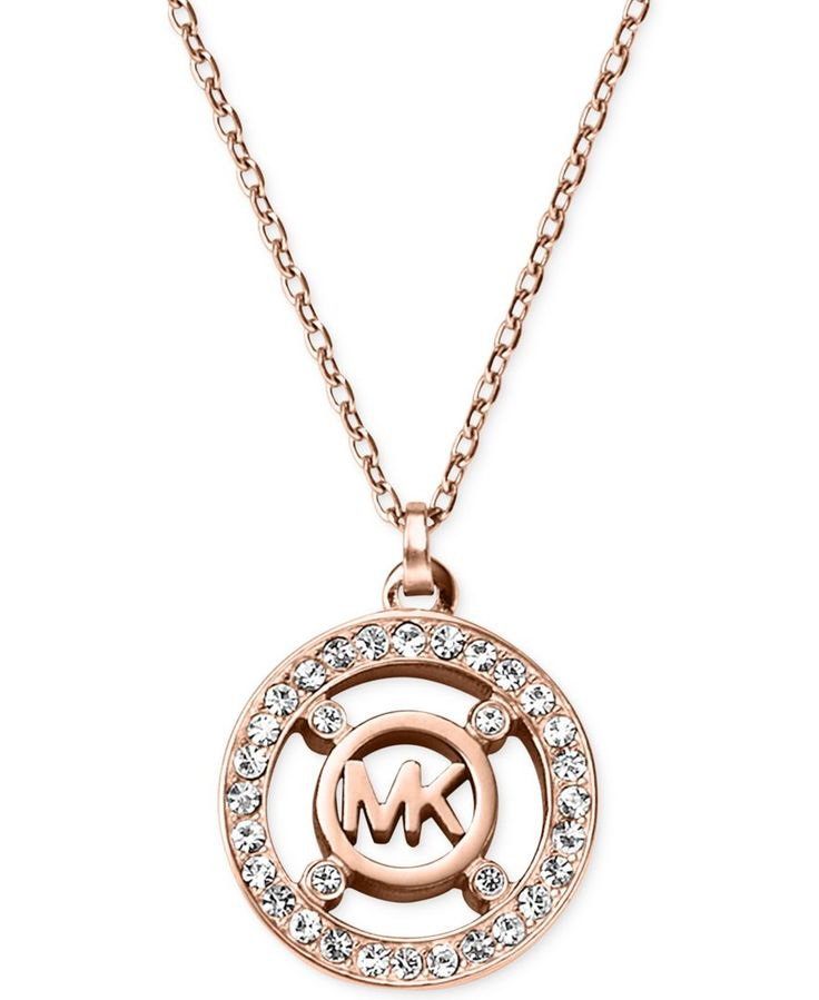 Michael kors crystal logo pendant necklace a macy 39 s for Michael b jewelry death