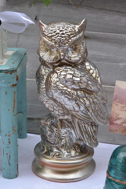 Silver Metallic Spray Paint & Wood Stain transform Ugly Owl