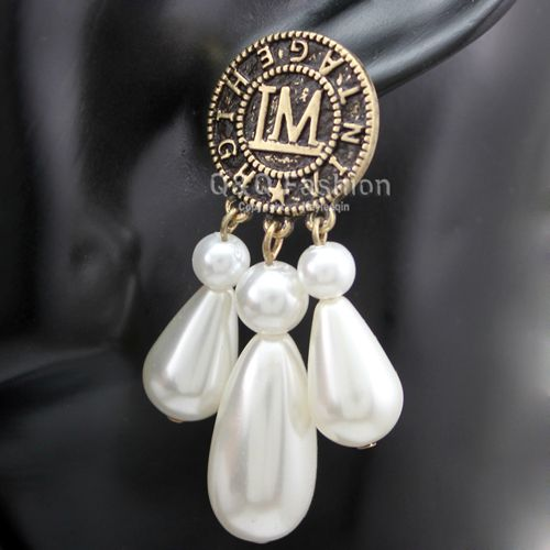 Paparazzi Chic Coin IM High Vintage Triple Drop Pearls Gypsy Earrings Jewelry 2017 New