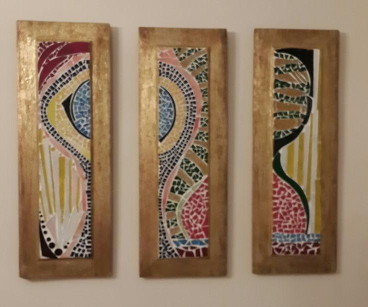 Eski kapı göbeklerine yaptığım mozaik çalışmam