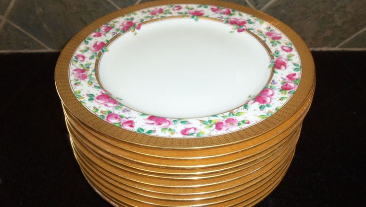 Antique Minton Dinnerware Set 12 Dinner Plates Handpainted Pink Roses/Wide Gold Band/Wedding Gift / Dinner Party by StyleJunkieAntiques on Etsy https://www.etsy.com/listing/185311663/antique-minton-dinnerware-set-12-dinner