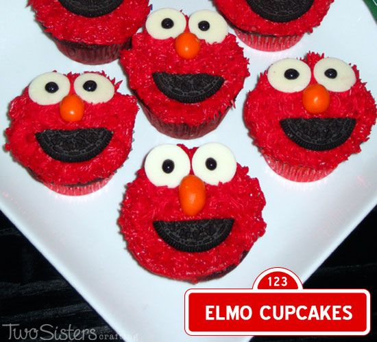 Elmo Cupcakes for a Sesame Street Party by TwoSistersCrafting.com #ElmoCupcakes #SesameStreetParty #TwoSistersCrafting