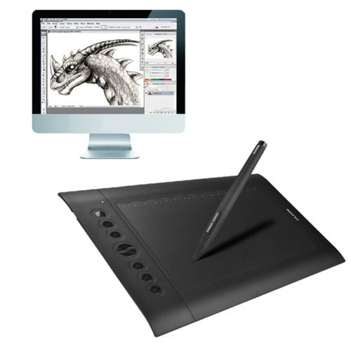 [$55.54] HUION H610 Pro 10 x 6.25 inch 5080 LPI 8 ExpressKey Signature Tablet Board with Digital Pen, Compatible with Window XP / 7 / Vista / 8 /10(Black)