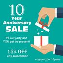Anniversary Sale, 15% OFF everything!   Bereshit newspaper is celebrating its 10 year anniversary, and we invite you to celebrate with us.  For a limited time only we're offering a special gift - 15% off any of our products.  Our newspapers come in 2 levels of difficulty:  Bereshit Newspaper - Easy Hebrew Newspaper for beginners Yanshuf Newspaper - Easy Hebrew Newspaper for advanced readers  You can also use this gift for our Biblical Magazine, conversation books and much more.   Coupon…
