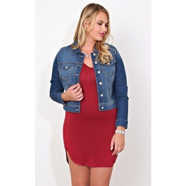 Plus Western Denim Jacket (41 CAD) ❤ liked on Polyvore featuring plus size women's fashion, plus size clothing, plus size outerwear, plus size jackets, med wash, plus size, women's plus size jackets, red denim jacket, women's plus size denim jacket and cowboys jacket