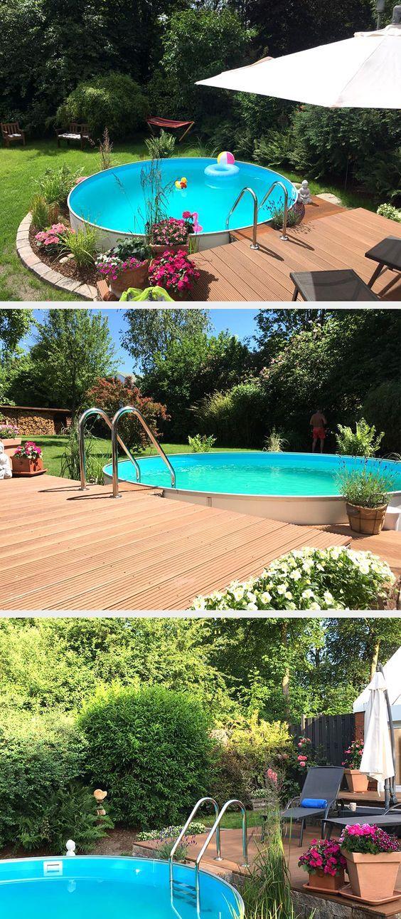 Dieser traumhafte Gartenpool lässt den Alltagsstress wie von selbst vergehen. In unserem Shop finden Sie ebendiese mit robustem, langlebigem Aluminium-Handlauf. #pool #swimmingpool #schwimmbecken #garten #gartengestaltung #gartendesign – Claudia
