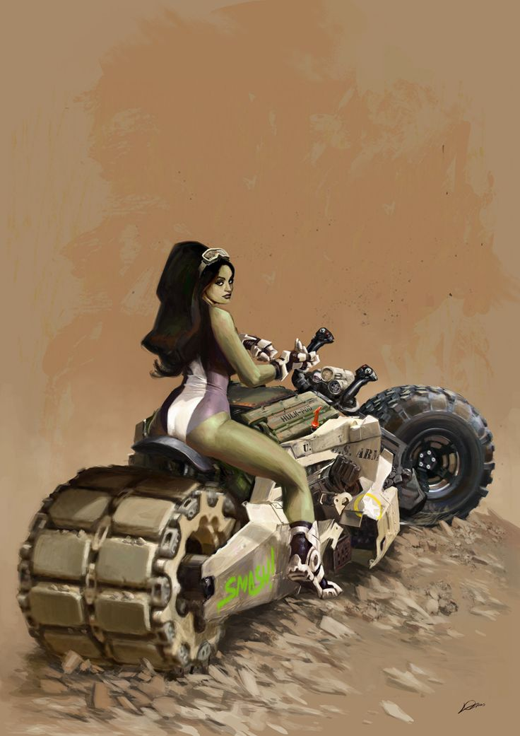"She-Hulk What kind of motorcycle can handle a female Hulk? Answer: The ""Smash!Pod""!"