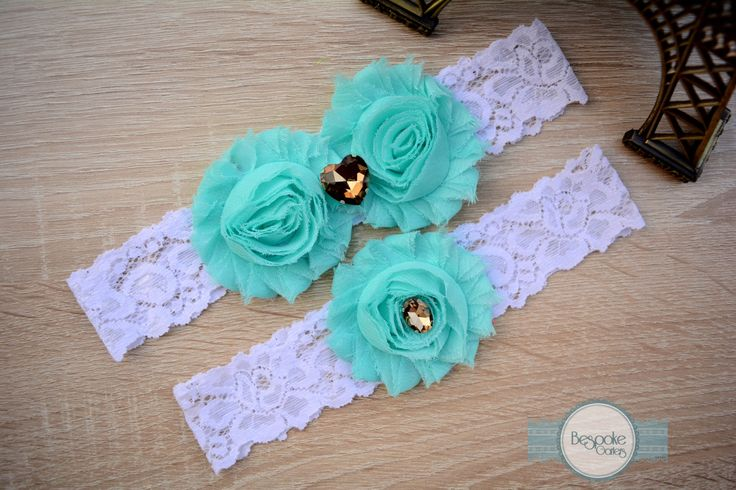 Handmade Wedding Garter of Baby Blue Flower, White Lace & Bronze Rhinestone - by BespokeGarters by BespokeGarters on Etsy