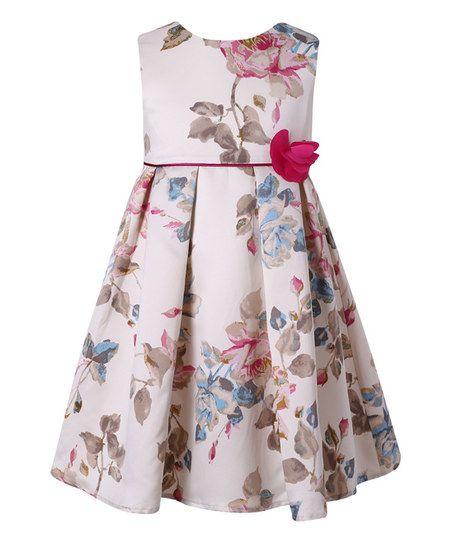 Richie House Beige Floral A-Line Dress - Toddler & Girls | zulily