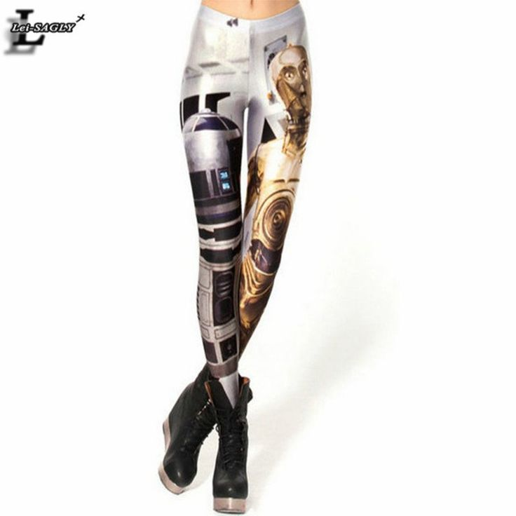 Artoo And Threepio Robot Printed Shiny Milk Leggings Fitness Women Fashion Punk Pants Gothic Creative Shape Sexy Rousers BL-018