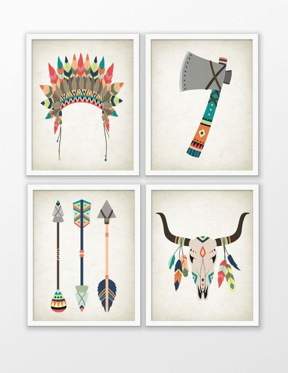 Tribal Nursery Art Print Set Of 4 - American Indian Tribal Nursery Art - Baby Shower Gift - Kids Playroom Decor - Tribal Animal Nursery #97