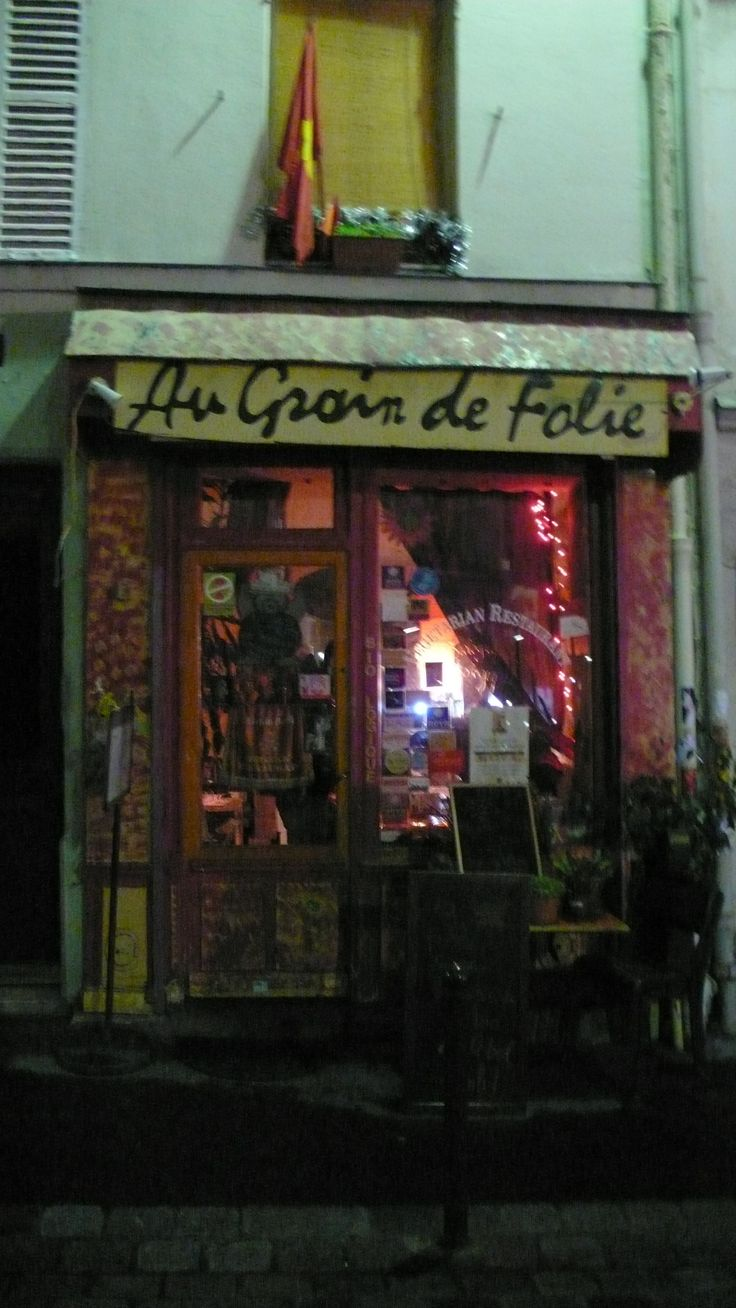 Au Grain de Folie in Paris, France.  Very small cafe with lots of vegan options.  Get there before it opens if you want a seat for dinner :)