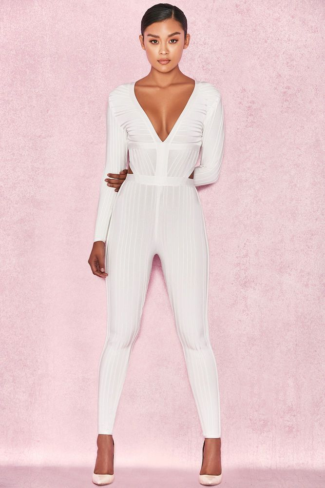 6680f960885d House of CB  Arya  White Plunge Neck Jumpsuit L 12   14 MA 387  fashion   clothing  shoes  accessories  womensclothing  jumpsuitsrompers (ebay link)