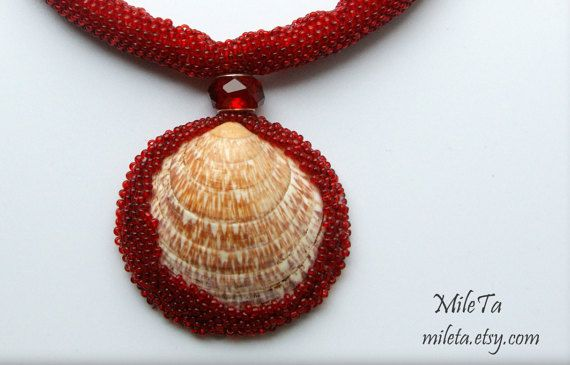 Unique handmade necklace: Red beaded rope with shell pendant embroidered with red seed beads.