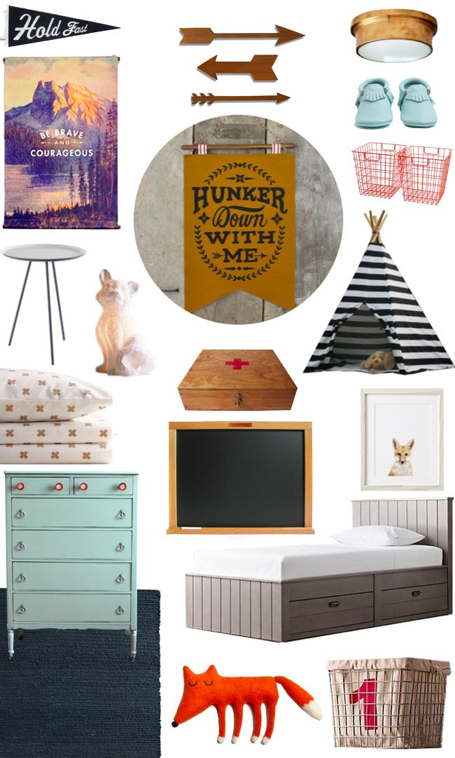Here's some fun inspiration for a nursery featuring the Haven bed, fox nightlight, baby fox portrait, chunky braided wool rug, industrial shelf baskets, and European Crisscross sheet set from #rhbabyandchild #fallinlove