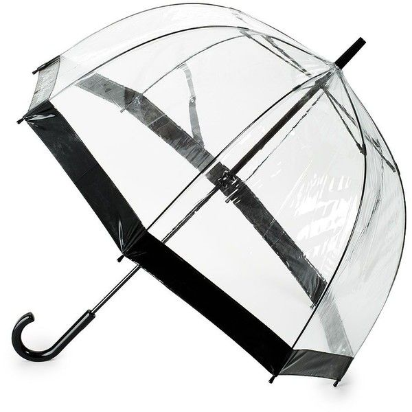 Saks Fifth Avenue Birdcage Stick Umbrella ($25) ❤ liked on Polyvore featuring accessories, umbrellas, see through umbrella and transparent umbrella