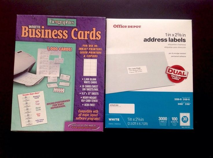 Business Cards For Inkjet Laser Copiers Address Labels Dual Printers Box of Each