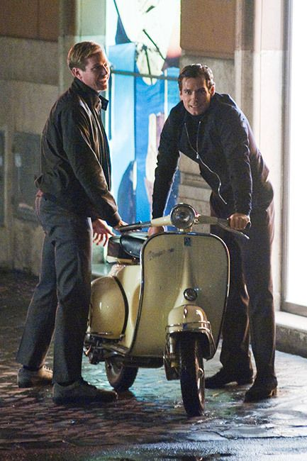 On thhe Rome set of Guy Ritchie's new movie The Man From U.N.C.L.E, Armie Hammer and Henry Cavill seemed to have some technical problems with their Vespa. Ugh, we hate when that happens!