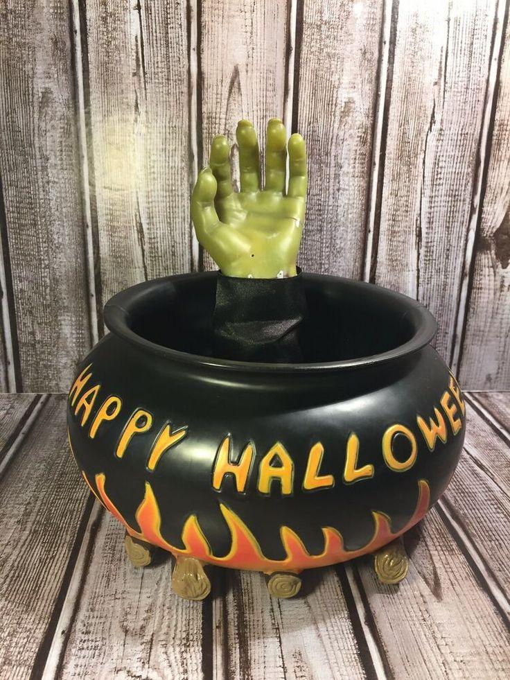 Gemmy Halloween Cauldron Candy Bowl Frankenstein Animated