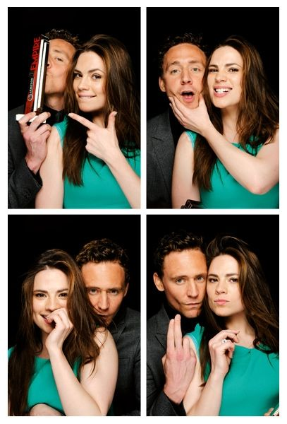 Tom Hiddleston and Hayley Atwell - The Photo Booth @ Jameson Empire Awards 2012. In the bottom right Tom is one finger away from giving the 'shocker'. I'm slightly amused.