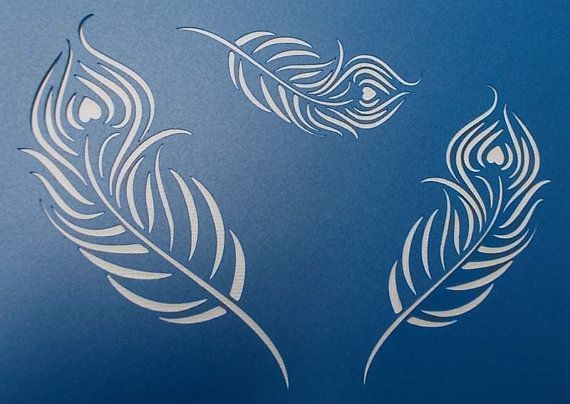 Peacock Feathers x 3  Stencil by kraftkutz on Etsy