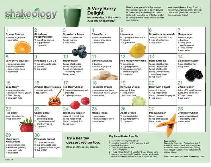 30-day Greenberry #Shakeology Recipe Calendar #HealthiestMealoftheDay