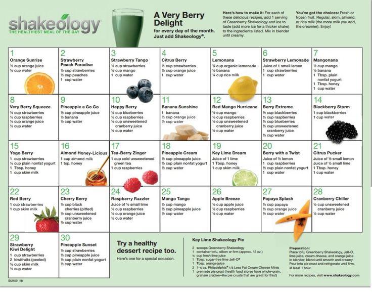 30-day Greenberry #Shakeology Recipe Calendar #HealthiestMealoftheDay