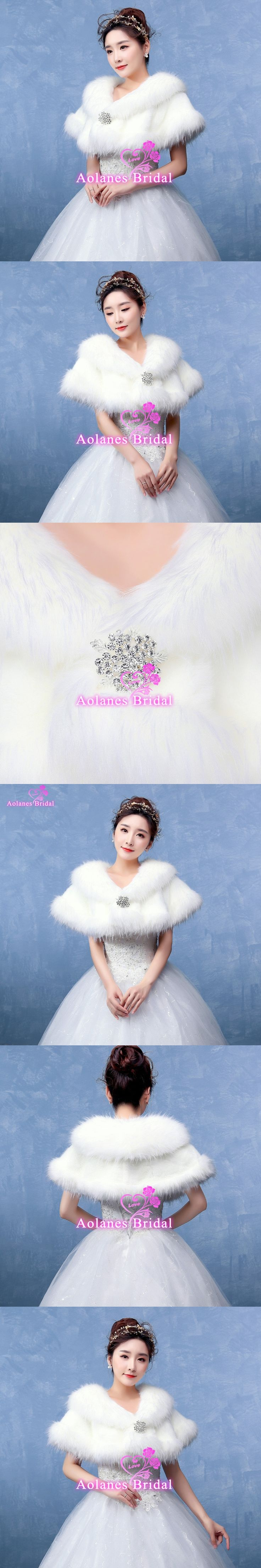 Bolero Ivory Bridal Wraps Winter Wedding Cape Faux Fur Elegant Ladies Evening Jackets Wedding Shawl Shrug Boleros