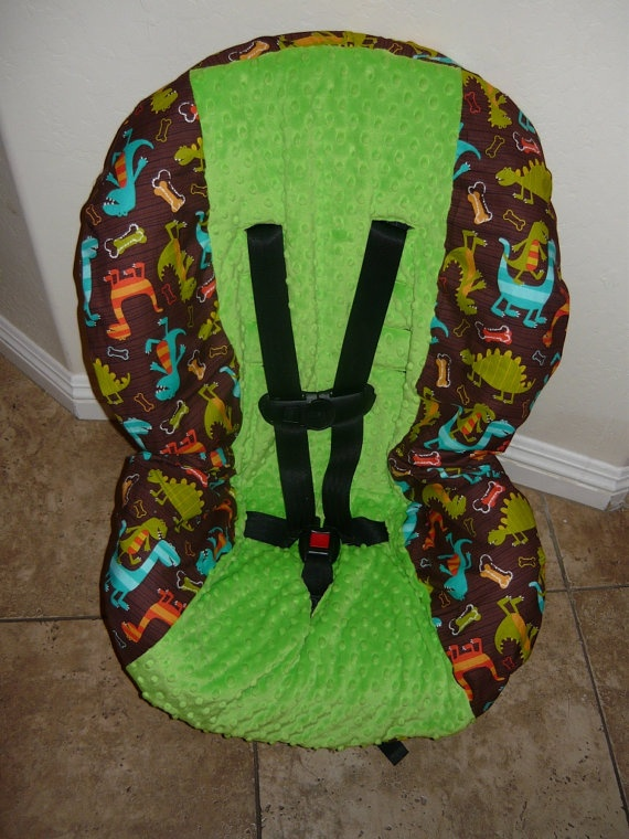 Dino Dudes with Jade Toddler Car Seat Cover by sewcuteinaz on Etsy, $40.00