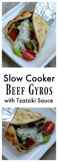 Slow Cooker (Crock Pot) Beef Gyros with Tzatziki Sauce