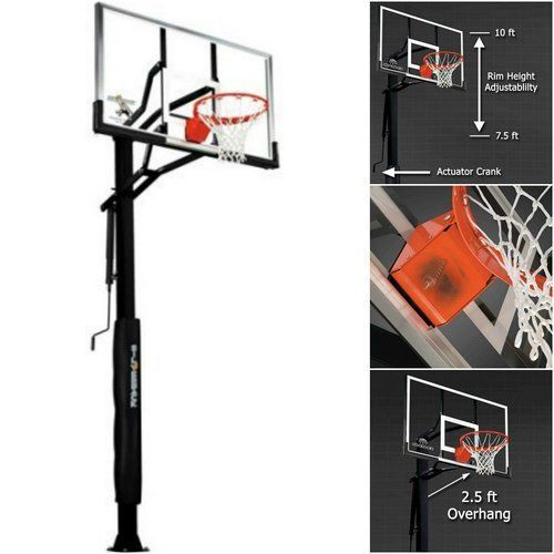 In-Ground-Basketball-System-Glass-Backboard-Hoop-Outdoor-Game-Backyard-Pole-Rim