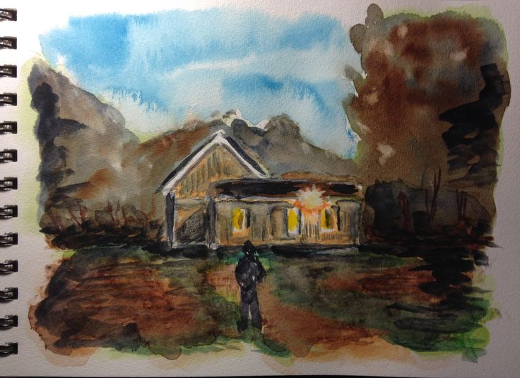 """This is """"Calling on the Homesteader,"""" watercolor on 7""""x10"""" field book paper (c) 2016 Wes Rehberg"""